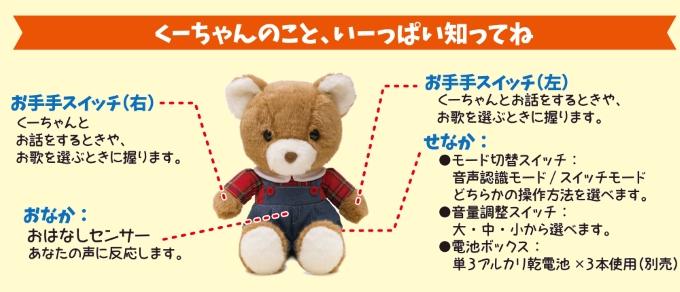 くまの子くーちゃんは1000通り以上のおしゃべり、お歌は50曲とお話やお歌をたくさんしてくれるクマさんです。