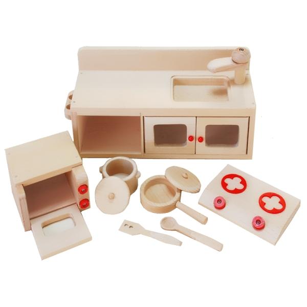 【おもちゃのジャンボ】 木のおもちゃ ミニキッチンセット 木製玩具 おままごと 食材 調理機器 通販 販売