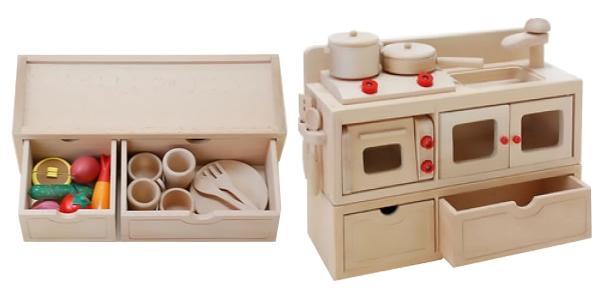 【おもちゃのジャンボ】 木のおもちゃ 棚 (ミニキッチン用) ままごと 食材 調理器具 木製玩具 通販 販売